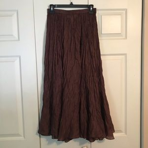 THE LIMITED Petite Small 100% Silk Brown Skirt